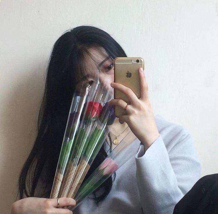 韓国女子 お花