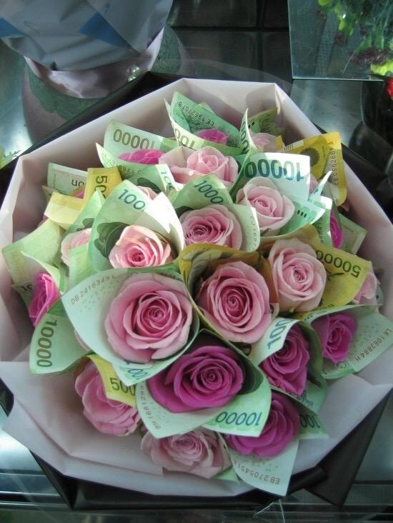 ピンク W10000 お金花束