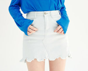 chuu、デニム台形スカート